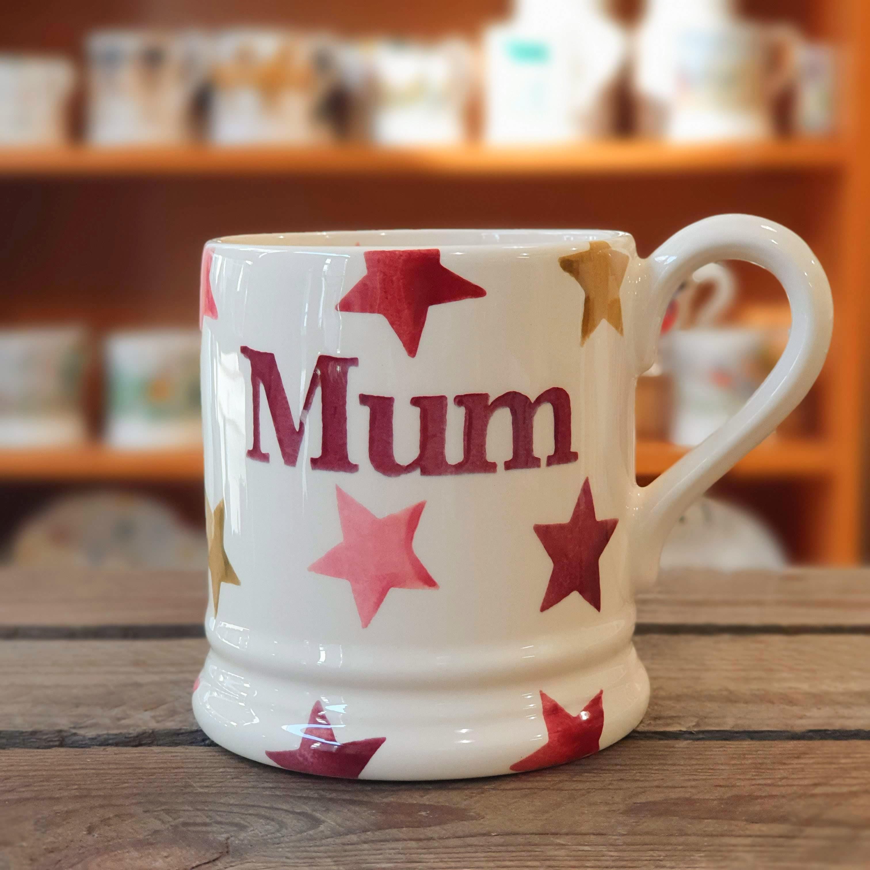 emma bridgewater pink star mum half pint mug