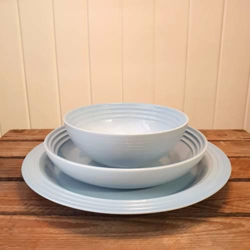 le creuset dinnerware coastal blue
