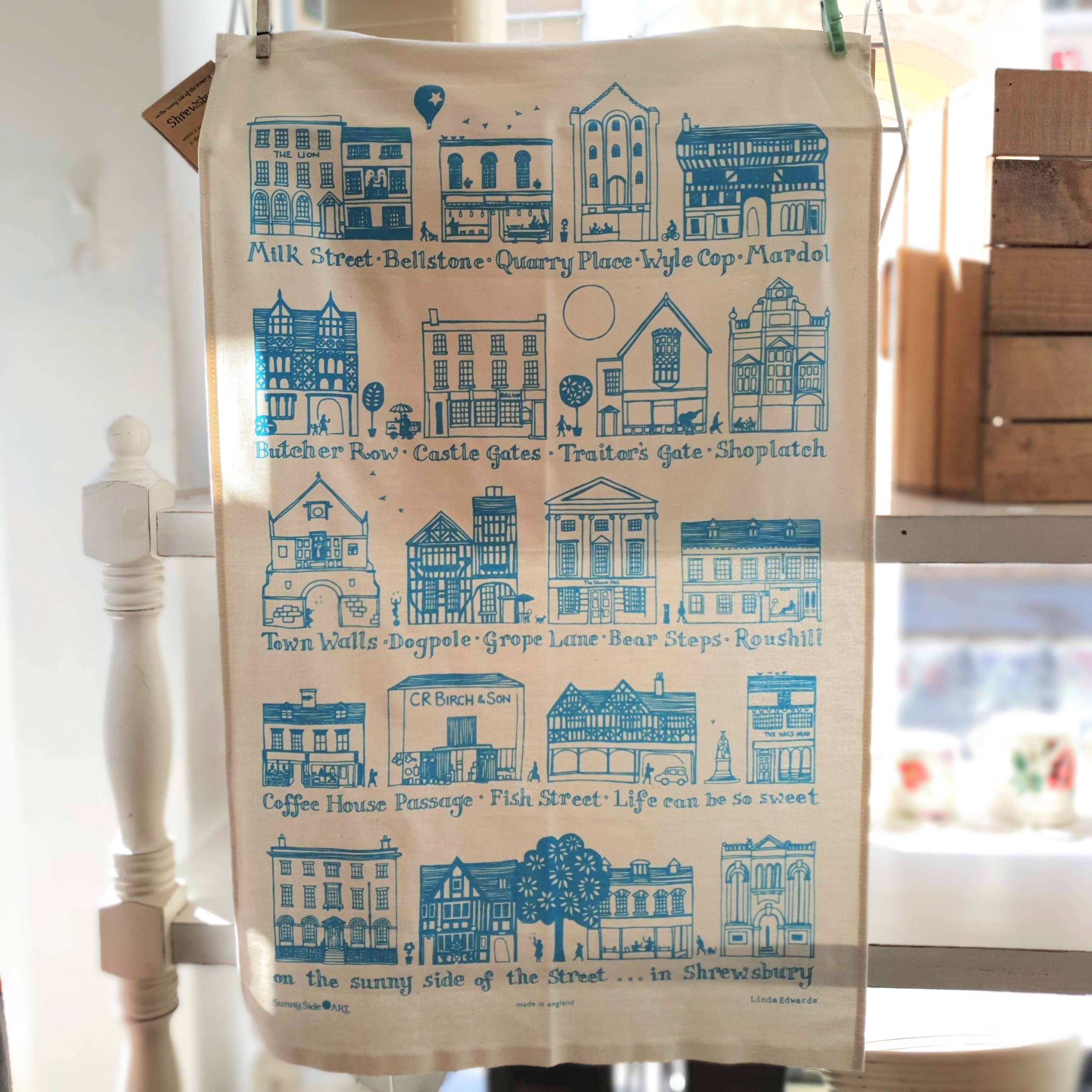 tea towel turquiose shrewsbury