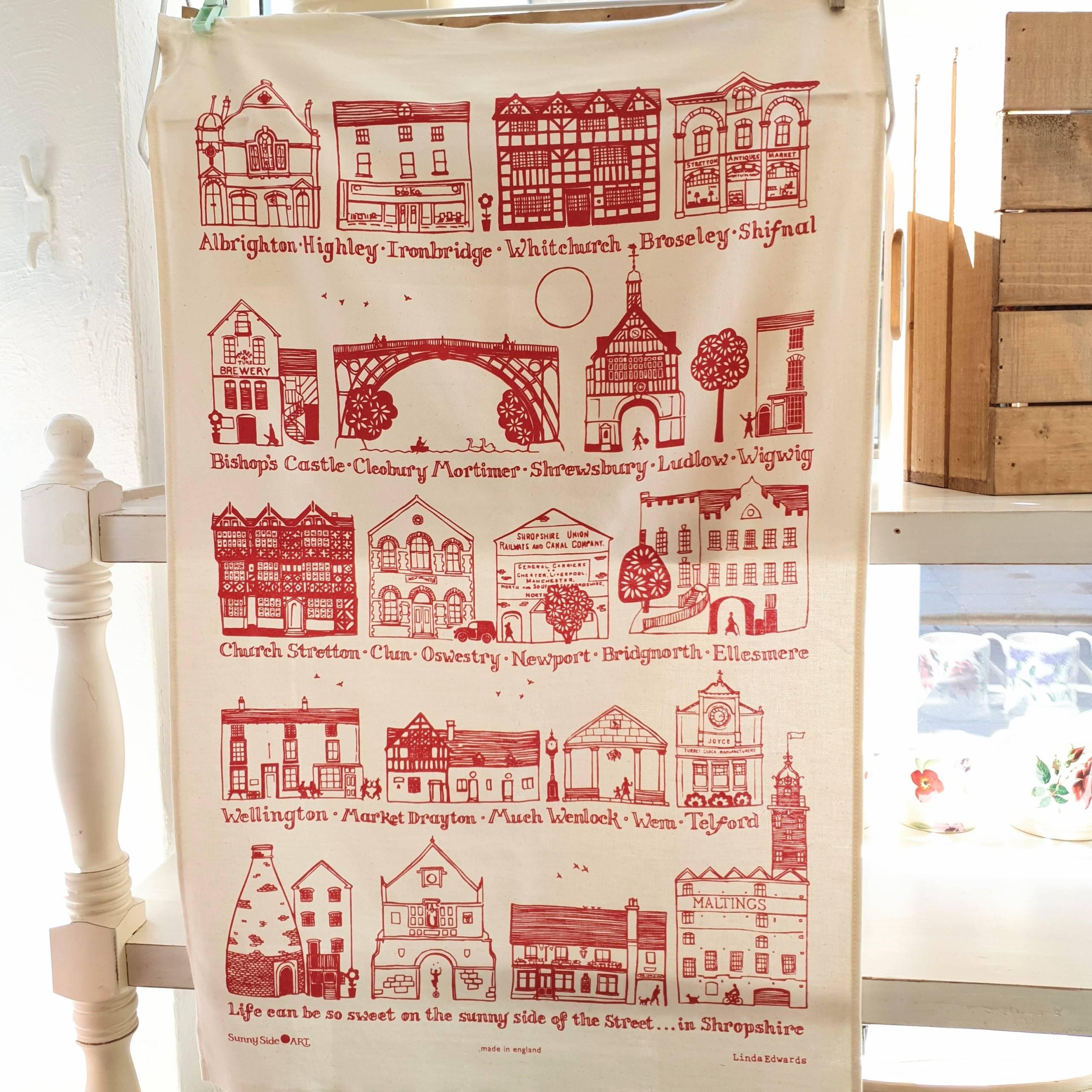 Red Shropshire Tea Towel