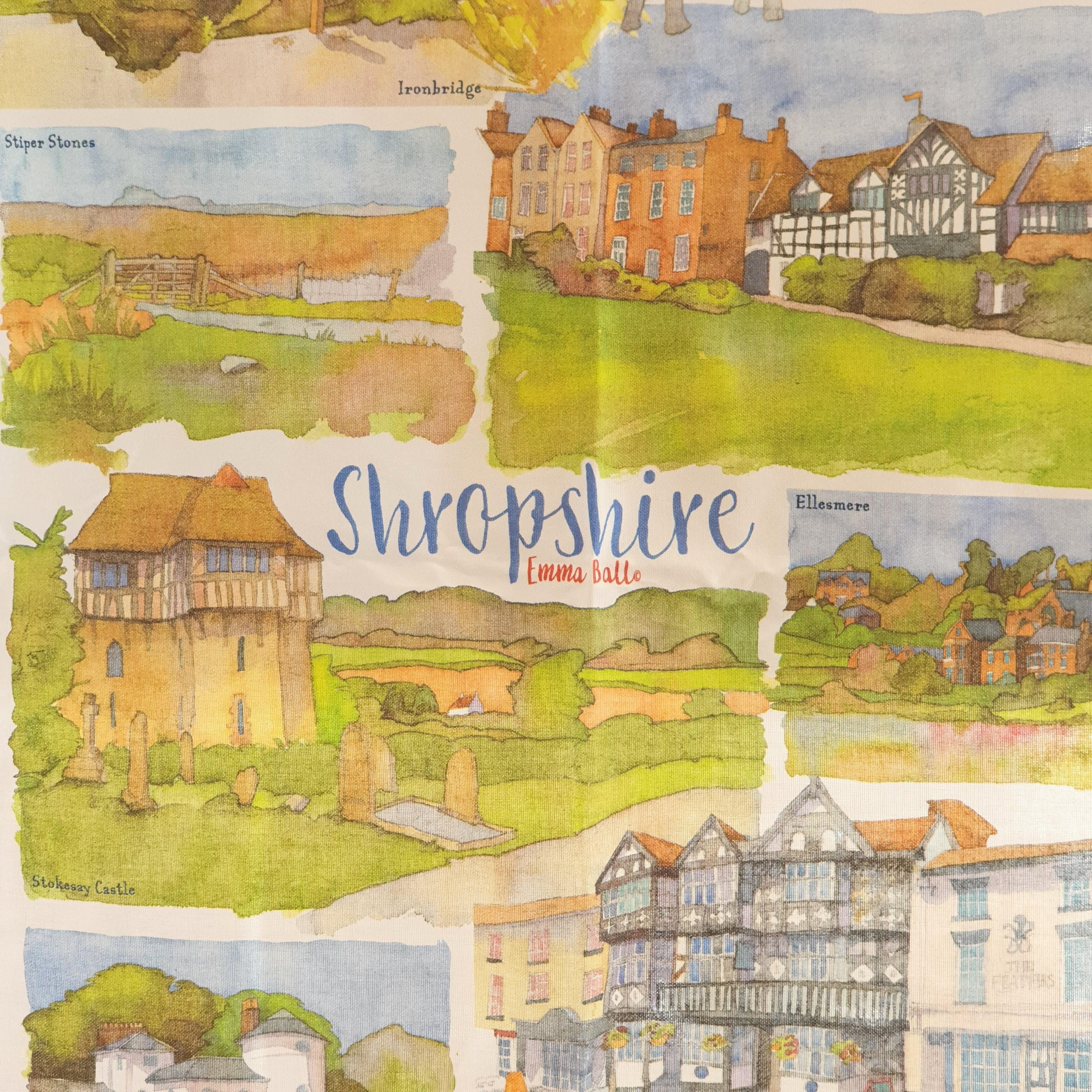 Shropshire teal towel close up