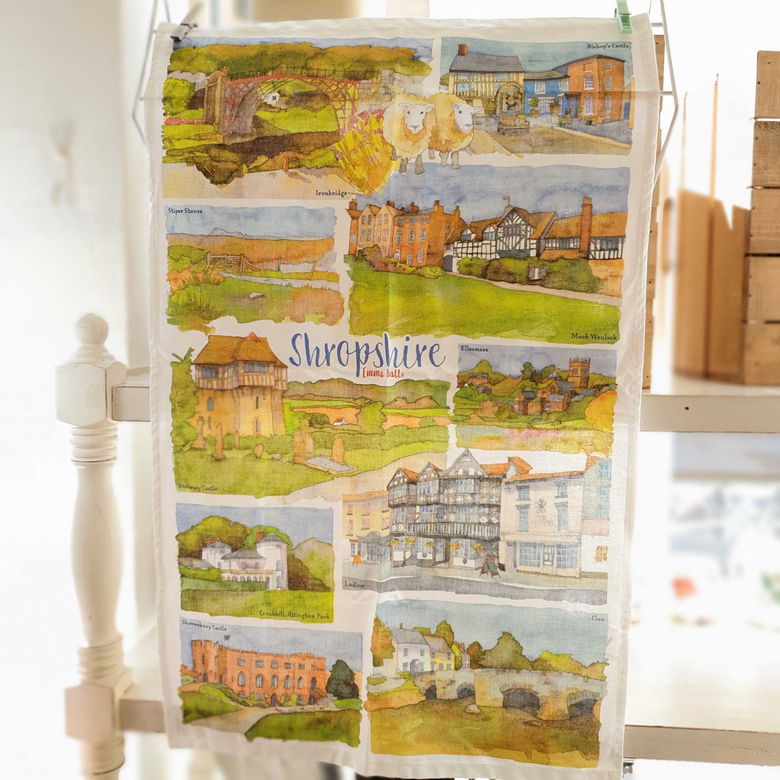 Shropshire Watercolour Tea Towel - Emma Ball