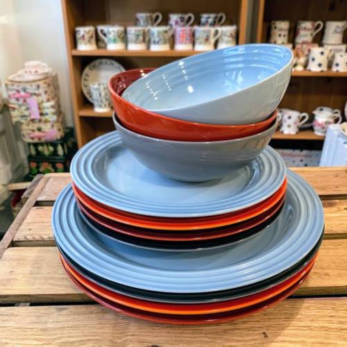 le creuset dinnerware coastal blue multi