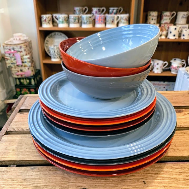 le creuset dinnerware coastal blue multi