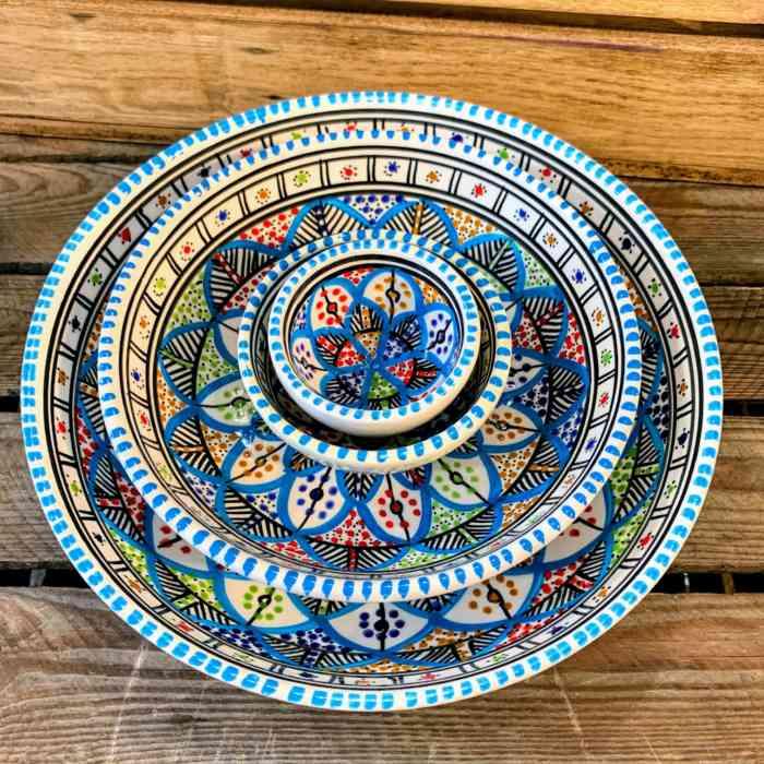 Tunisian Hand Painted Bowls - Flat