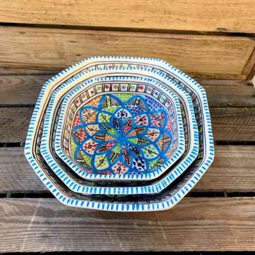Tunisian Hand Painted Bowl - Octagonal