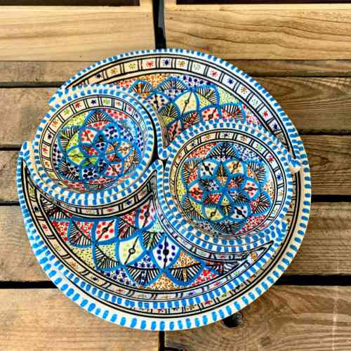 Tunisian Hand Painted Aperitif - Two Bowl