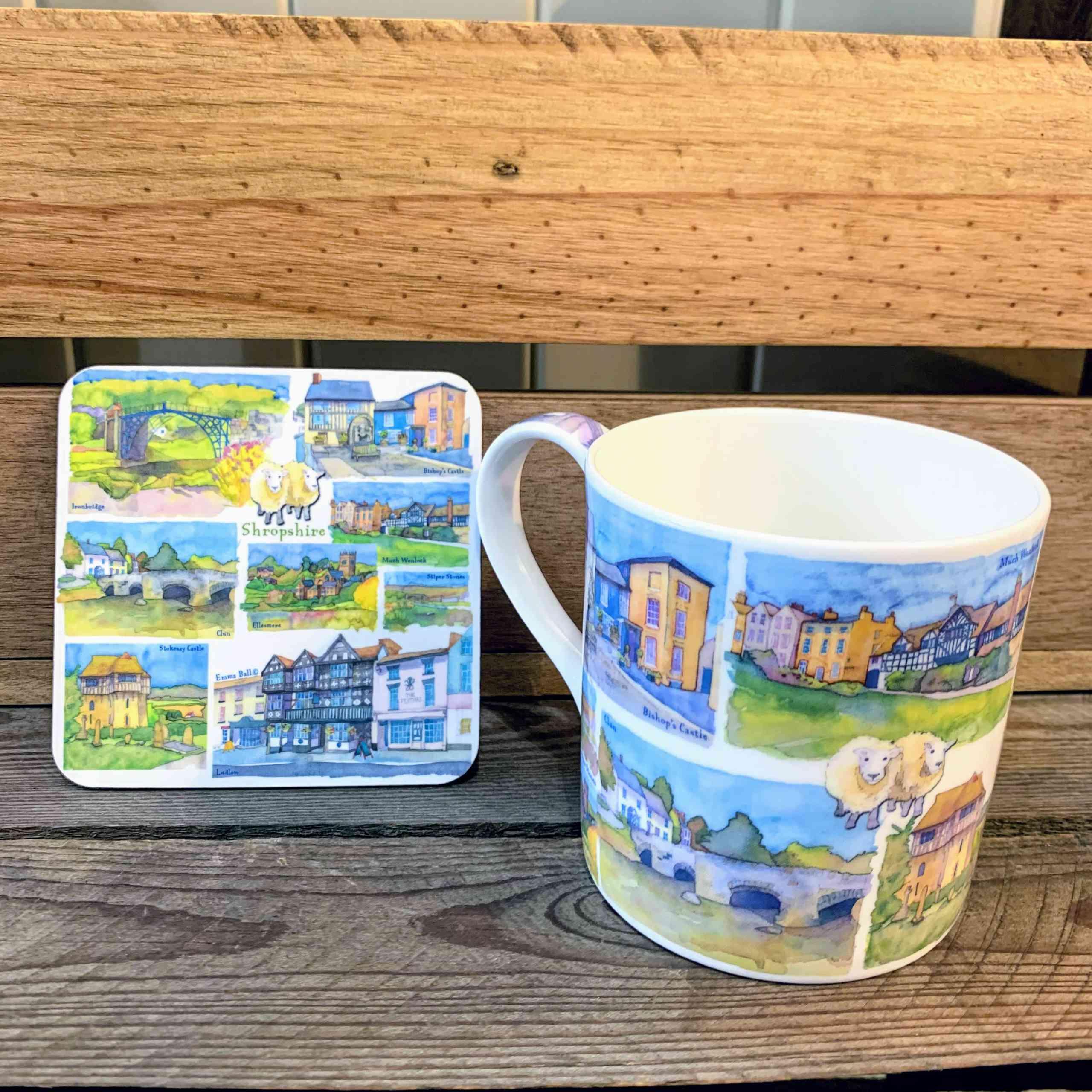 Emma Ball Watercolour Mug And Coaster - Shropshire