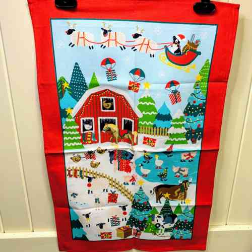 Animal Christmas Tea Towel