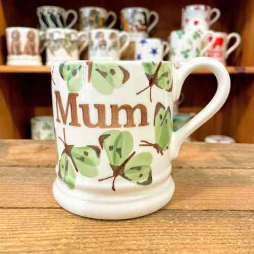 Emma Bridgewater Green Cabbage White Butterfly MUM Half Pint Mug