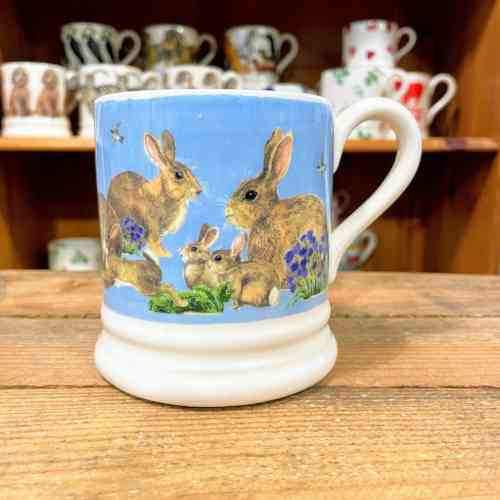 Emma Bridgewater Bright New Mornings Rabbits And Kits Half Pint Mug